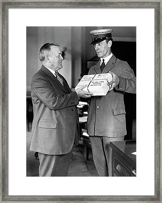 First Air Mail From St. Paul Framed Print by Underwood Archives