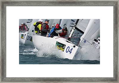 First At The Mark Framed Print by Steven Lapkin