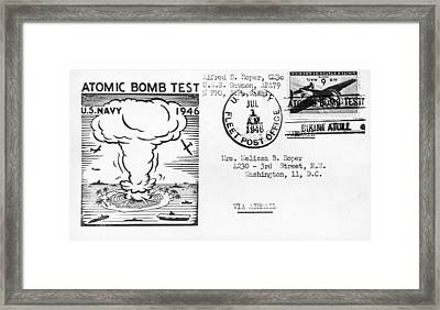 First Atomic Bomb Test Framed Print by Underwood Archives