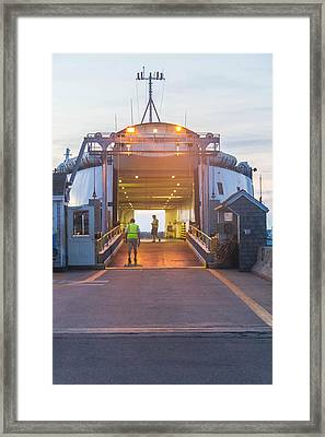 First Ferry Of The Day Framed Print