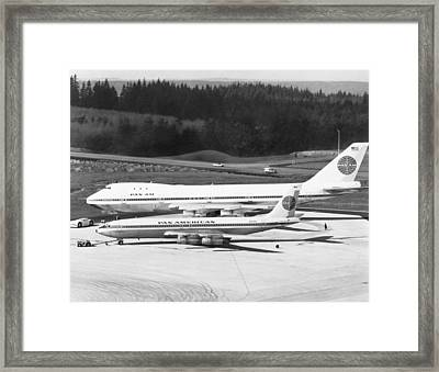 First Boeing 747 Framed Print by Underwood Archives
