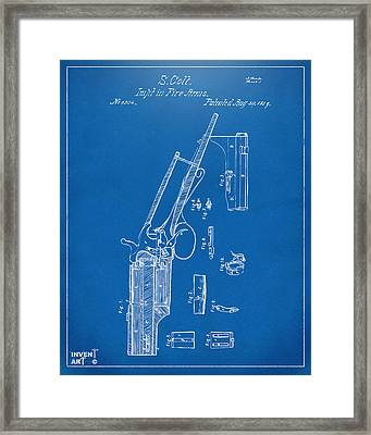 1839 Colt Revolver Patent Artwork Blueprint Framed Print