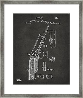 1839 Colt Revolver Patent Artwork - Gray Framed Print