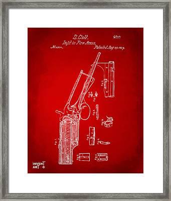 1839 Colt Revolver Patent Artwork Red Framed Print by Nikki Marie Smith