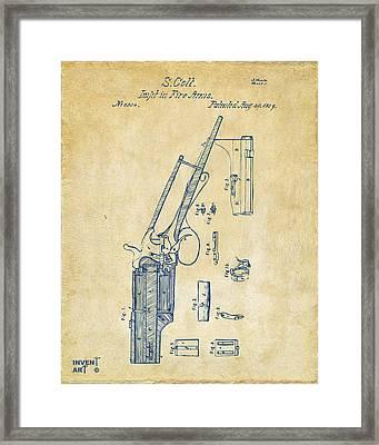 1839 Colt Revolver Patent Artwork Vintage Framed Print by Nikki Marie Smith
