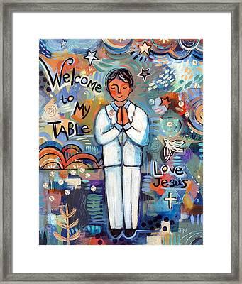 First Communion Boy Framed Print by Jen Norton