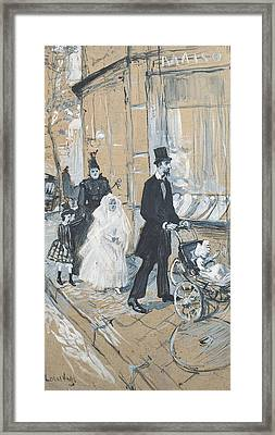 First Communion Day, 1888 Grisaille On Cardboard Framed Print by Henri de Toulouse-Lautrec