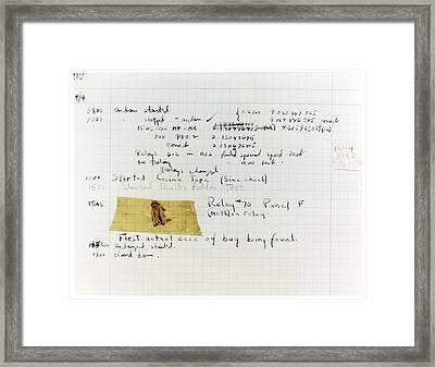 First 'computer Bug' Framed Print by Us Navy, Us Naval Historical Center