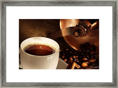 First Cup Of The Day Framed Print by Cole Black
