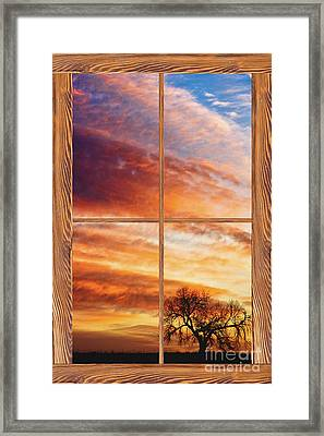First Dawn Barn Wood Picture Window Frame View Framed Print by James BO  Insogna