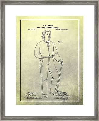 First Denim Jeans Patent Framed Print