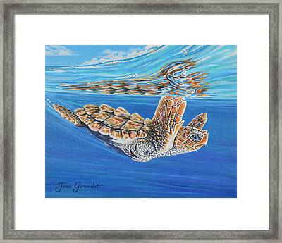 Framed Print featuring the painting First Dive by Jane Girardot