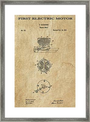 First Electric Motor 3 Patent Art 1837 Framed Print