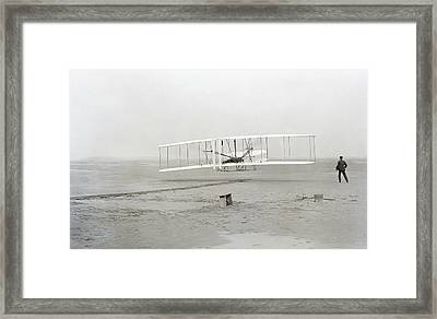 First Flight Captured On Glass Negative - 1903 Framed Print by Daniel Hagerman