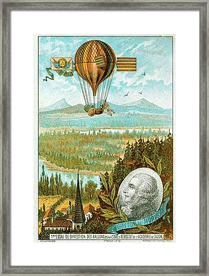 First Flight In A Dirigible Framed Print