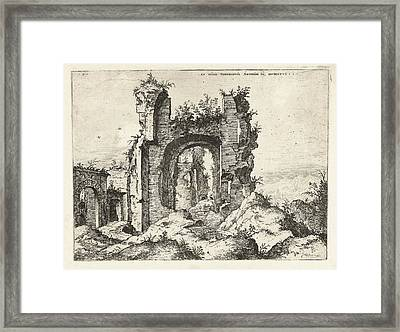 First Glance At The Baths Of Caracalla, Hieronymus Cock Framed Print by Artokoloro