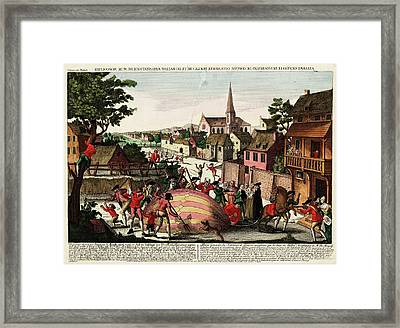 First Hydrogen Balloon Being Attacked Framed Print by Library Of Congress
