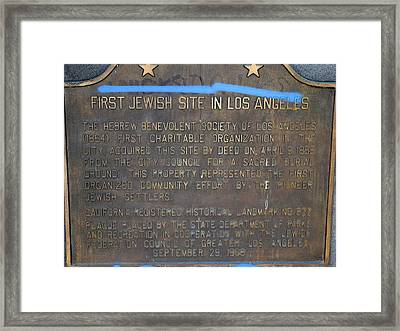 First Jewish Site In Los Angeles Framed Print by Jeff Lowe