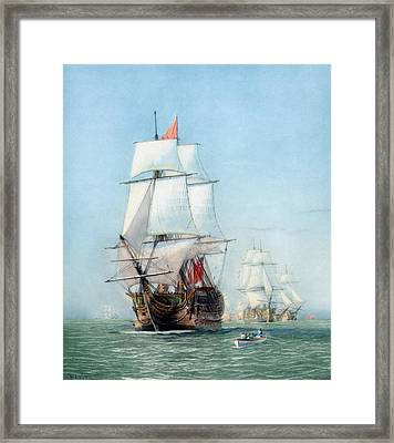 First Journey Of The Hms Victory Framed Print by War Is Hell Store