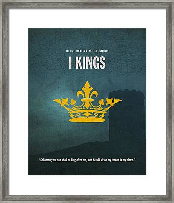 First Kings Books Of The Bible Series Old Testament Minimal Poster Art Number 11 Framed Print by Design Turnpike