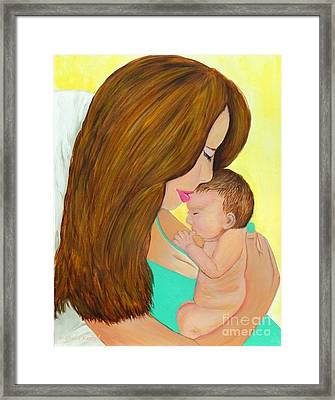 First Kiss- Mother And Newborn Baby Framed Print by Shelia Kempf