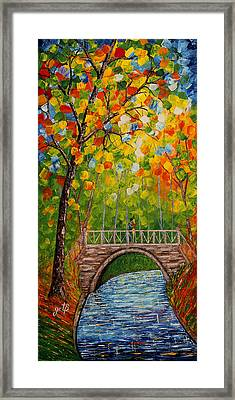 First Kiss On The Bridge Original Acrylic Palette Knife Painting Framed Print
