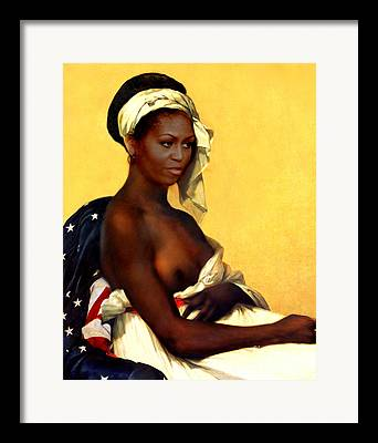 Michelle Obama Nude Framed Prints