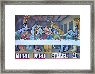 Framed Print featuring the painting First Last Supper by Lisa Piper