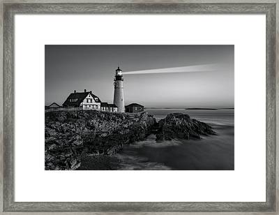 First Light At Portland Head Light Bw Framed Print by Susan Candelario