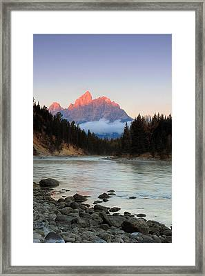 First Light On The Grand Teton Framed Print