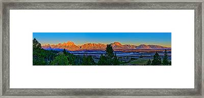 First Light On The Tetons Framed Print