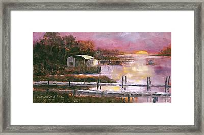 First Light Two Mile Channel Framed Print