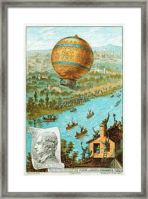 First Manned Free Balloon Flight Framed Print