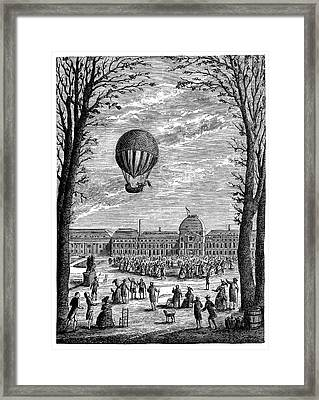 First Manned Hydrogen Balloon Framed Print by Science Photo Library