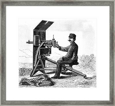 First Model Of Hiram Maxim's Machine Gun Framed Print by Universal History Archive/uig