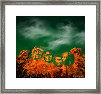 First Nations Chiefs In Mount Rushmore Framed Print by Anastasia Savage Ealy