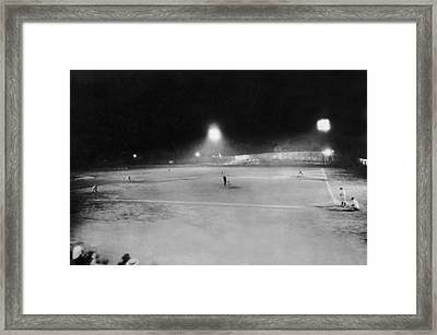 First Night Baseballl Game Framed Print by Underwood Archives