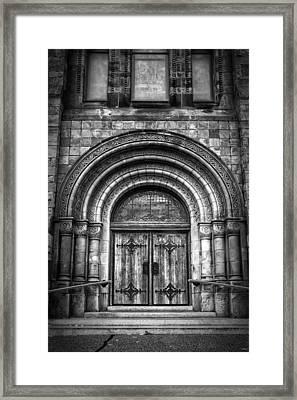 First Parish Church Of Plymouth Door Framed Print by Joan Carroll