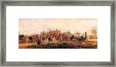 First Railroad Train On The Mohawk And Hudson Framed Print by Edward Henry