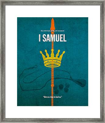 First Samuel Books Of The Bible Series Old Testament Minimal Poster Art Number 9 Framed Print by Design Turnpike