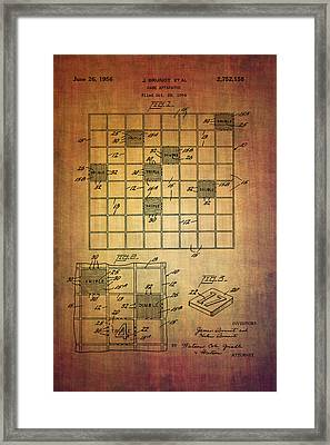 First Scrabble Game Board Patent From 1956  Framed Print