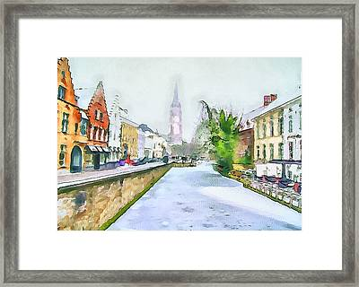 First Snow At Brugge Framed Print