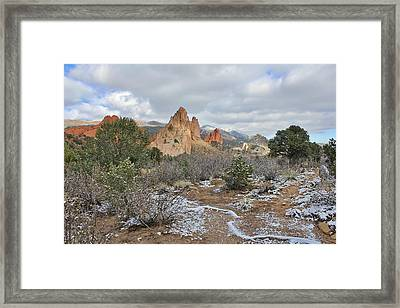 Framed Print featuring the photograph First Snow At Garden Of The Gods by Diane Alexander