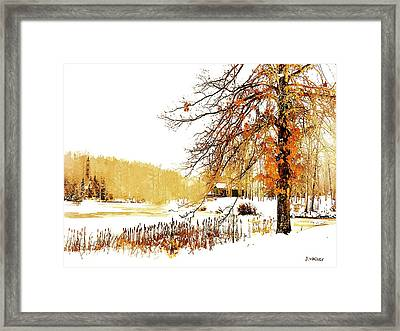 First Snow Last Leaves Framed Print by Dorothy Walker