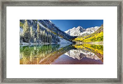First Snow Maroon Bells Framed Print