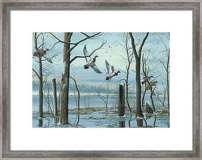 Framed Print featuring the painting First Snow by Mike Brown