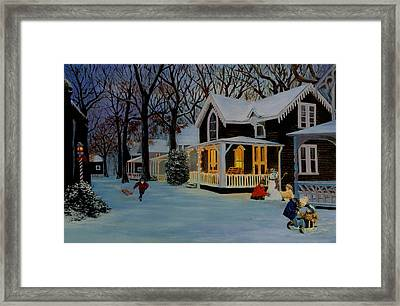 Framed Print featuring the painting First Snowfall by Rick Fitzsimons