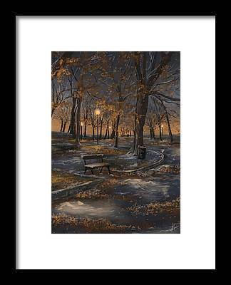 First Snowfall Framed Prints