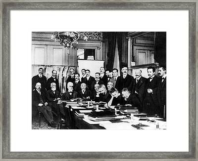 First Solvay Congress Framed Print by Photographie Benjamin Couprie, Institut International De Physique Solvay, Courtesy Emilio Segre Visual Archives/american Institute Of Physics