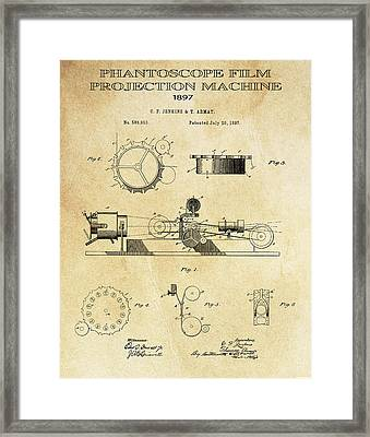 First True Motion Picture Projector Patent  1897 Framed Print by Daniel Hagerman